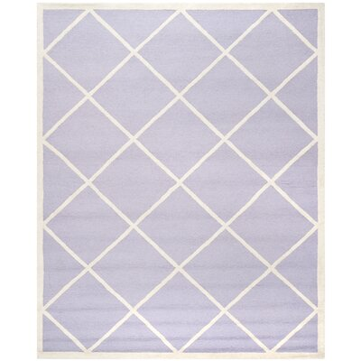 Martins Hand-Tufted Wool Lavander/Ivory Area Rug Rug Size: Rectangle 6 x 9