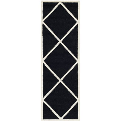 Darla Hand-Tufted Wool Black/White Area Rug Rug Size: Runner 26 x 8