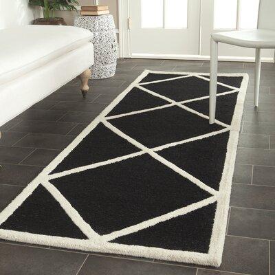 Darla Hand-Tufted Wool Black/White Area Rug Rug Size: Runner 26 x 8