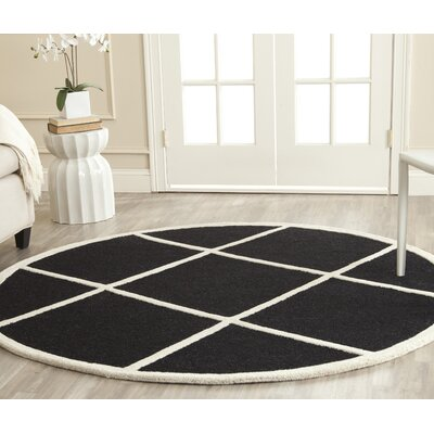 Darla Hand-Tufted Wool Black/White Area Rug Rug Size: Round 6