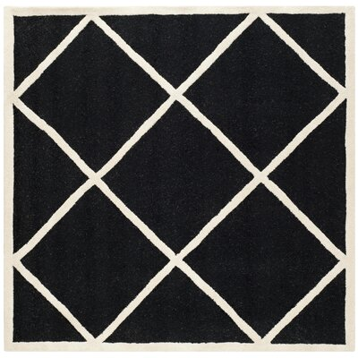 Darla Hand-Tufted Wool Black/White Area Rug Rug Size: Square 6