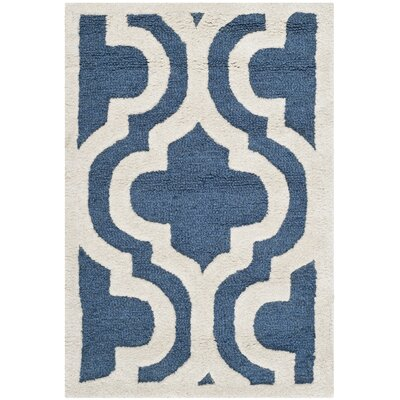 Darla Hand-Tufted Wool Navy/Ivory Area Rug Rug Size: Rectangle 26 x 4