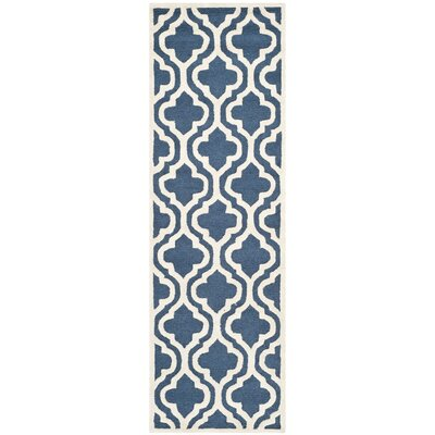 Darla Hand-Tufted Wool Navy/Ivory Area Rug Rug Size: Runner 26 x 8