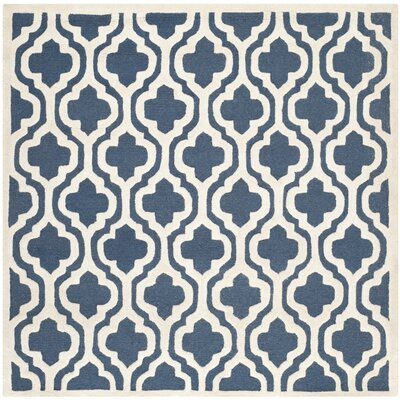 Darla Hand-Tufted Wool Navy/Ivory Area Rug Rug Size: Rectangle 6 x 6