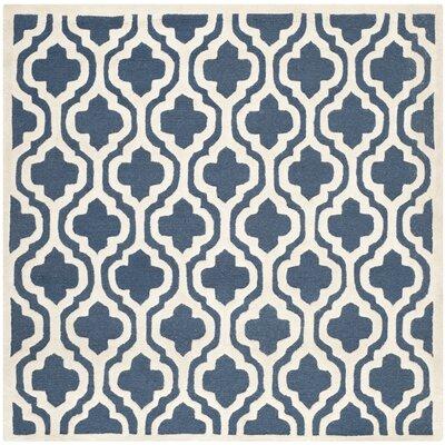 Darla Navy/Ivory Geometric Area Rug Rug Size: 8 x 8