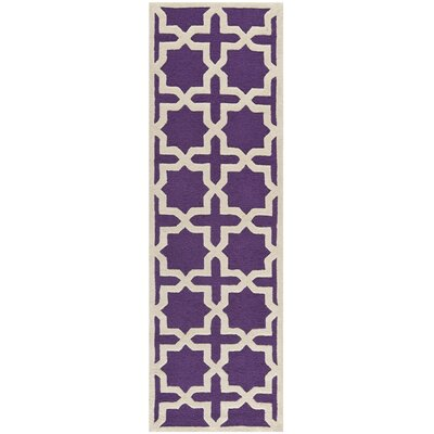 Darla Purple/Ivory Area Rug Rug Size: Runner 26 x 10