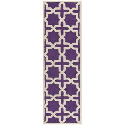 Ruben Purple/Ivory Area Rug Rug Size: Runner 26 x 8