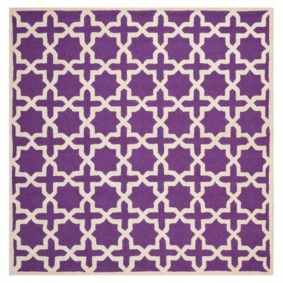 Darla Purple/Ivory Area Rug Rug Size: Rectangle 8 x 8