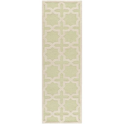 Darla Hand-Tufted Wool Light Green/Ivory Area Rug Rug Size: Runner 26 x 6