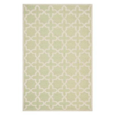 Darla Hand-Tufted Wool Light Green/Ivory Area Rug Rug Size: Rectangle 4 x 6