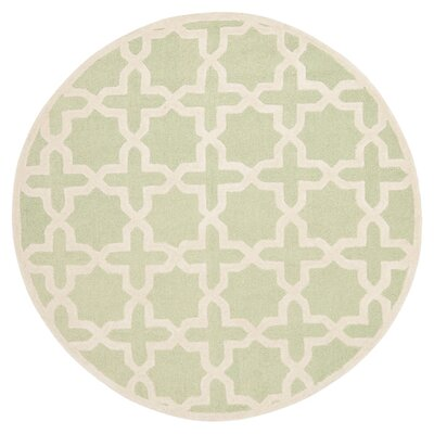 Darla Hand-Tufted Wool Light Green/Ivory Area Rug Rug Size: Round 6