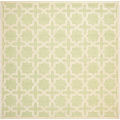Darla Hand-Tufted Wool Light Green/Ivory Area Rug Rug Size: Square 8