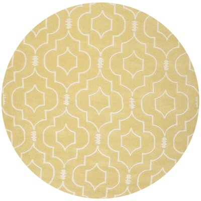 Greaves Light Gold / Ivory Rug Rug Size: Round 7
