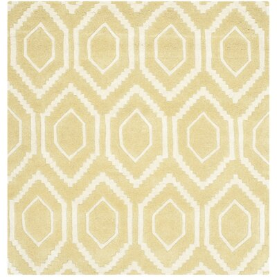 Vanderford Hand-Tufted Wool Light Gold/Ivory Area Rug Rug Size: Square 4