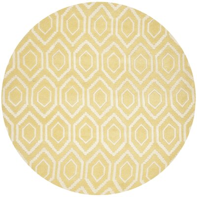 Vanderford Hand-Tufted Wool Light Gold/Ivory Area Rug Rug Size: Round 7