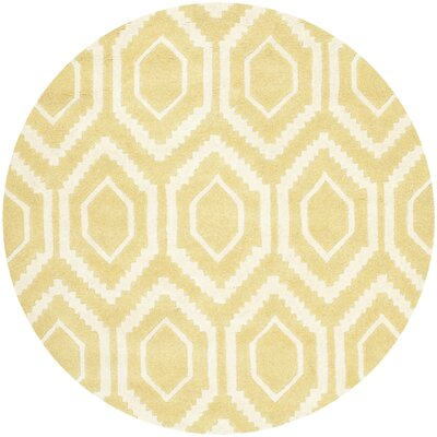 Vanderford Hand-Tufted Wool Light Gold/Ivory Area Rug Rug Size: Round 4