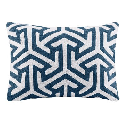 Bourg Crewel Embroidered Oblong Cotton Lumbar Pillow Color: Blue