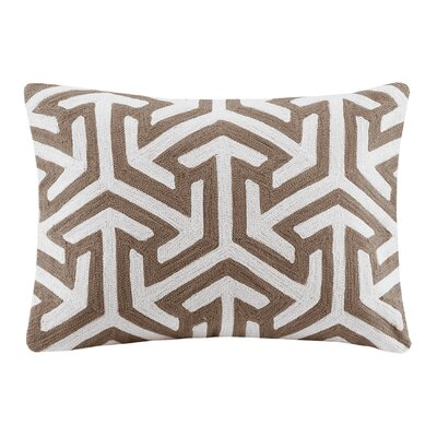Bourg Crewel Embroidered Oblong Cotton Lumbar Pillow Color: Tan