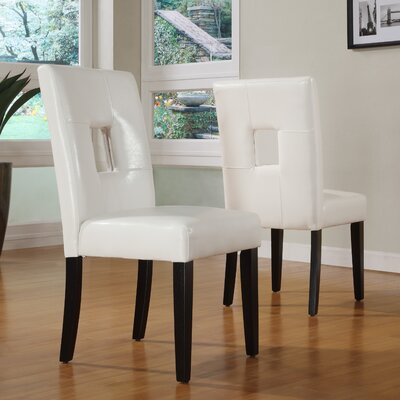 Belvin Keyhole Side Chair Finish: White / Espresso