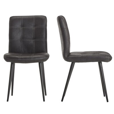 Hosea Microfiber Side Chair Color: Black