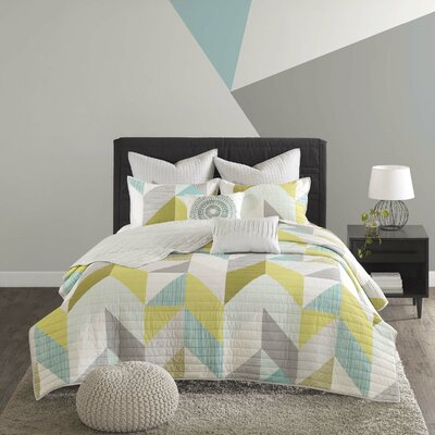 Horta Cotton 7 Piece Coverlet Set Size: King/California King, Color: Aqua