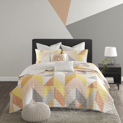 Horta Cotton 7 Piece Coverlet Set Size: King/California King, Color: Orange