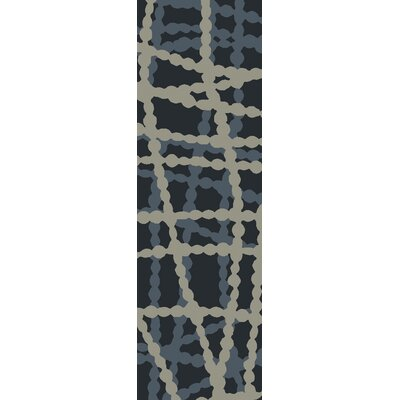 Summers Navy/Light Gray Indoor/Outdoor Area Rug Rug Size: Runner 26 x 8