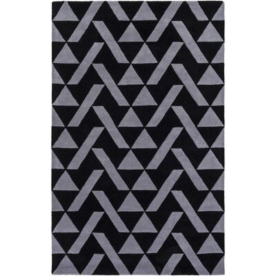 Hooper Hand-Tufted Black/Charcoal Area Rug Rug size: Rectangle 5 x 76