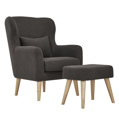 Branscome Armchair and Ottoman Color: Dark Grey