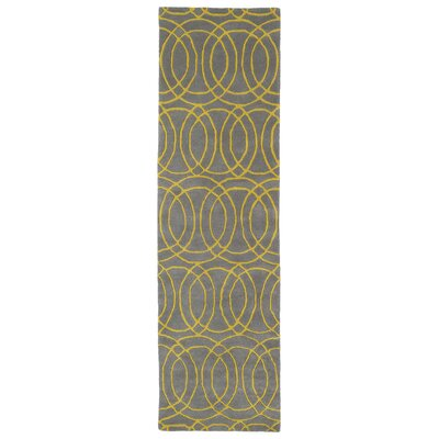 Molly Hand-Tufted Yellow/Gray Area Rug Rug Size: Runner 23 x 8