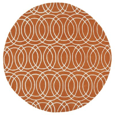 Molly Orange/White Area Rug Rug Size: Round 59