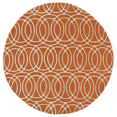 Brann Orange/White Area Rug Rug Size: Round 59