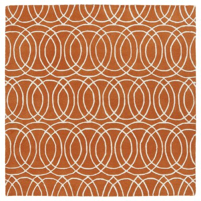 Brann Orange/White Area Rug Rug Size: Square 59