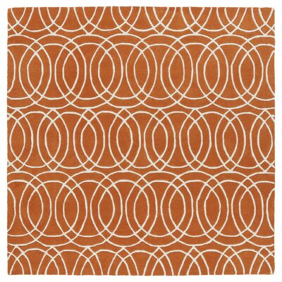 Brann Orange/White Area Rug Rug Size: Square 79
