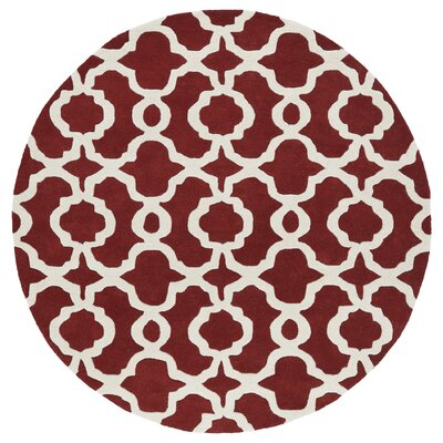 Molly Hand-Tufted Red / Ivory Area Rug Rug Size: Round 119