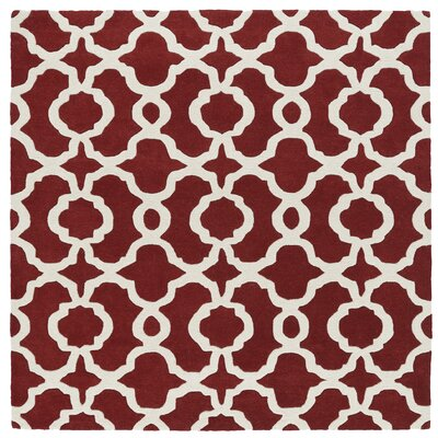 Brann Hand-Tufted Red / Ivory Area Rug Rug Size: Square 119