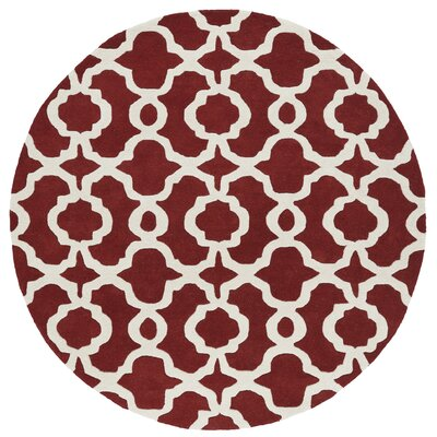 Molly Hand-Tufted Red / Ivory Area Rug Rug Size: Round 39