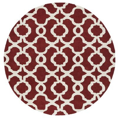 Molly Hand-Tufted Red / Ivory Area Rug Rug Size: Round 59