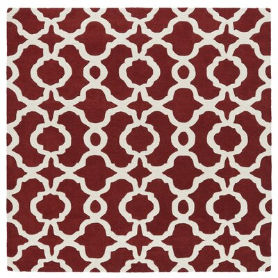 Brann Hand-Tufted Red / Ivory Area Rug Rug Size: Square 59