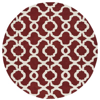 Molly Hand-Tufted Red / Ivory Area Rug Rug Size: Round 79