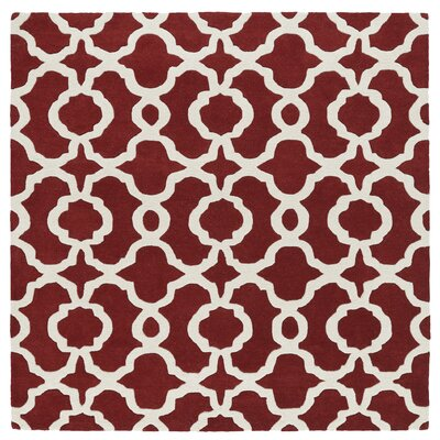 Brann Hand-Tufted Red / Ivory Area Rug Rug Size: Square 79