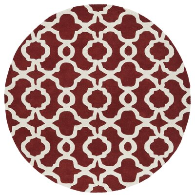 Molly Hand-Tufted Red / Ivory Area Rug Rug Size: Round 99