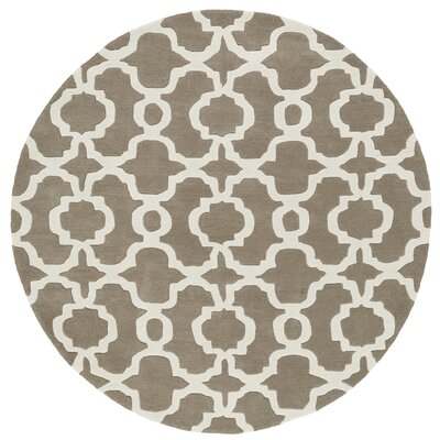 Molly Hand-Tufted Light Brown / Ivory Area Rug Rug Size: Round 119