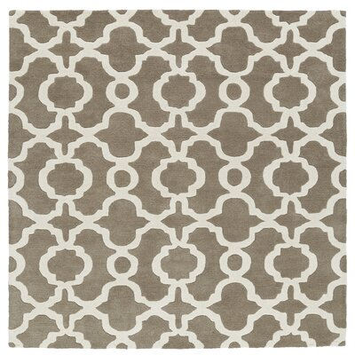Brann Hand-Tufted Light Brown / Ivory Area Rug Rug Size: Square 39
