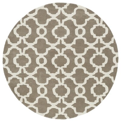 Molly Hand-Tufted Light Brown / Ivory Area Rug Rug Size: Round 59