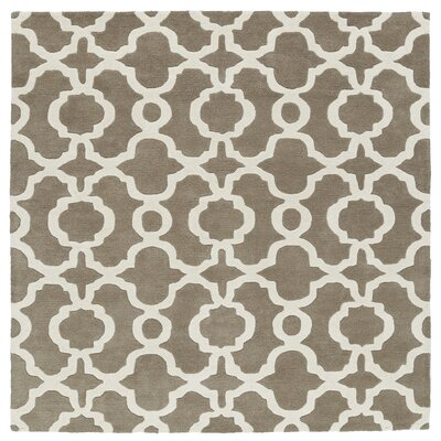 Brann Hand-Tufted Light Brown / Ivory Area Rug Rug Size: Square 59