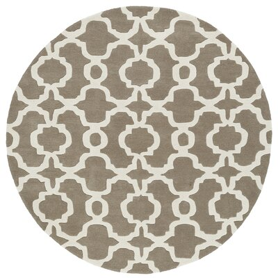 Molly Hand-Tufted Light Brown / Ivory Area Rug Rug Size: Round 79