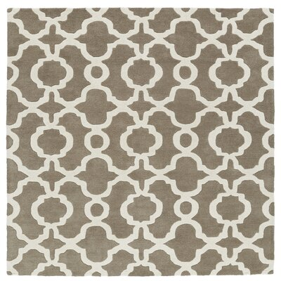 Molly Hand-Tufted Light Brown / Ivory Area Rug Rug Size: Square 99