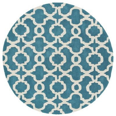 Molly Hand-Tufted Teal / Ivory Area Rug Rug Size: Round 39