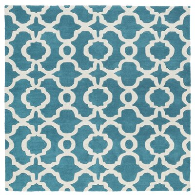 Molly Hand-Tufted Teal / Ivory Area Rug Rug Size: Square 3'9